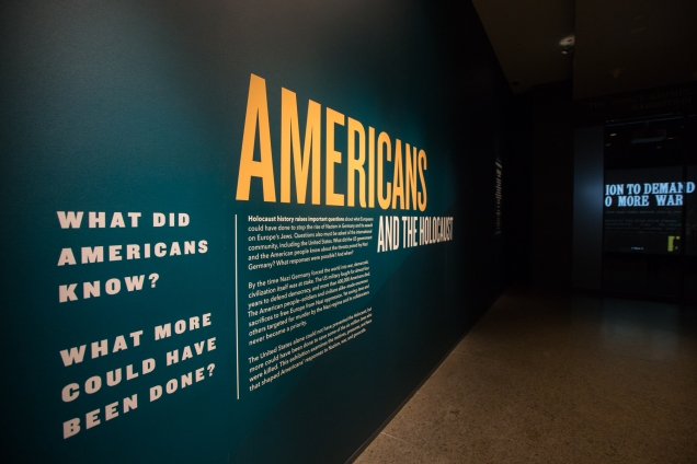 """8 April 2018, Days of Remembrance and 25th Anniversary, the first tours through the new """"Americans and the Holocaust"""" exhibition."""